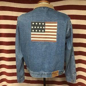 Euc vintage polo American flag denim jacket XL